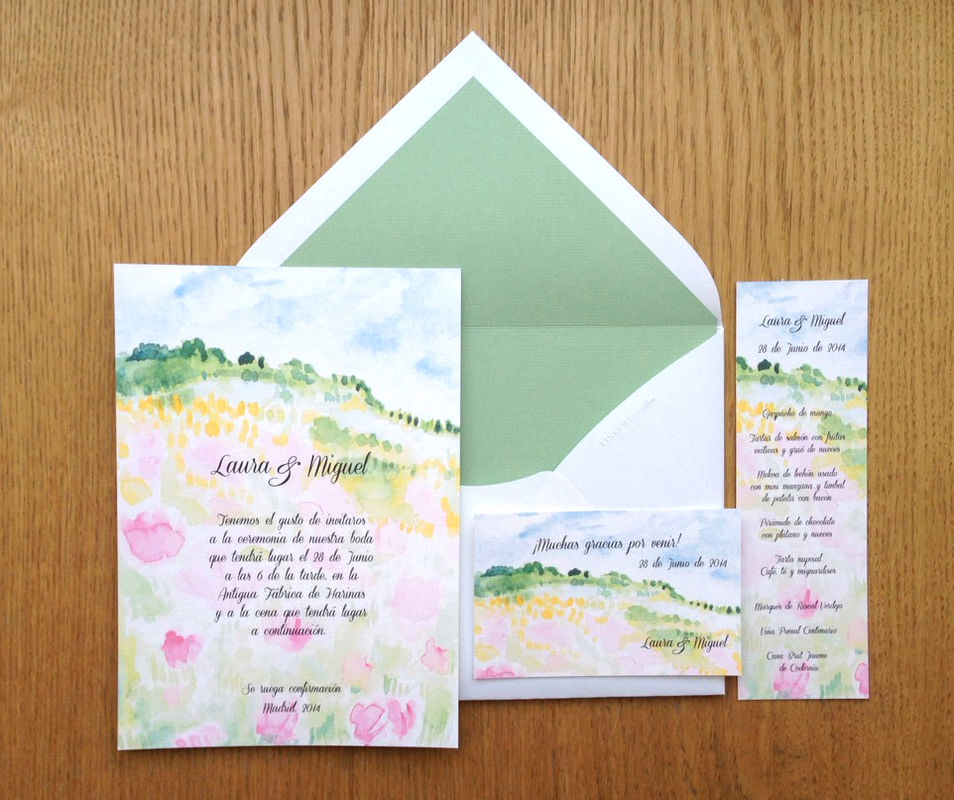 Invitaciones coloridas y frescas ideales para bodas campestres