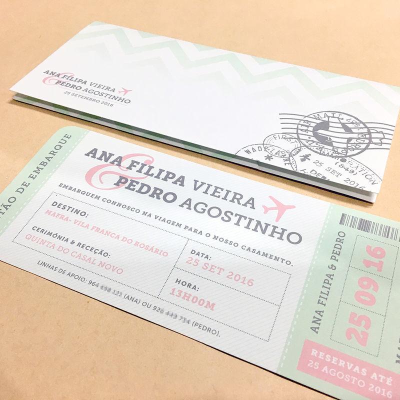 Convite Boarding Pass Ana Filipa e Pedro