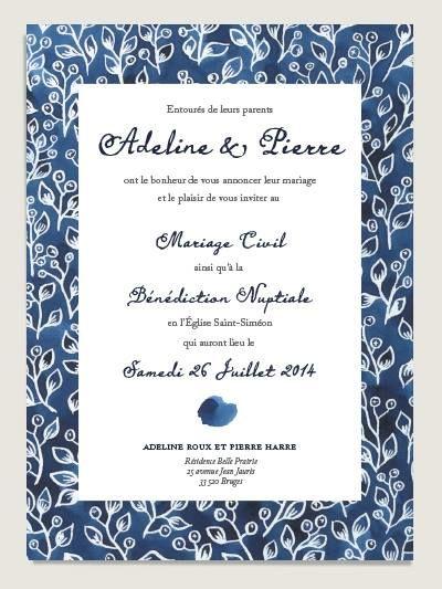 Faire-part de mariage aquarelle Indigo par Dioton.fr