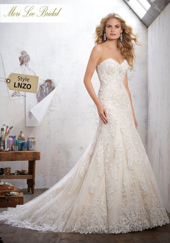 Dress style LNZO Mackinley Wedding Dress Colors Available: White, Ivory, Ivory/Champagne. Shown in Ivory/Champagne. Available in Three Lengths: 55″, 58″, 61″.