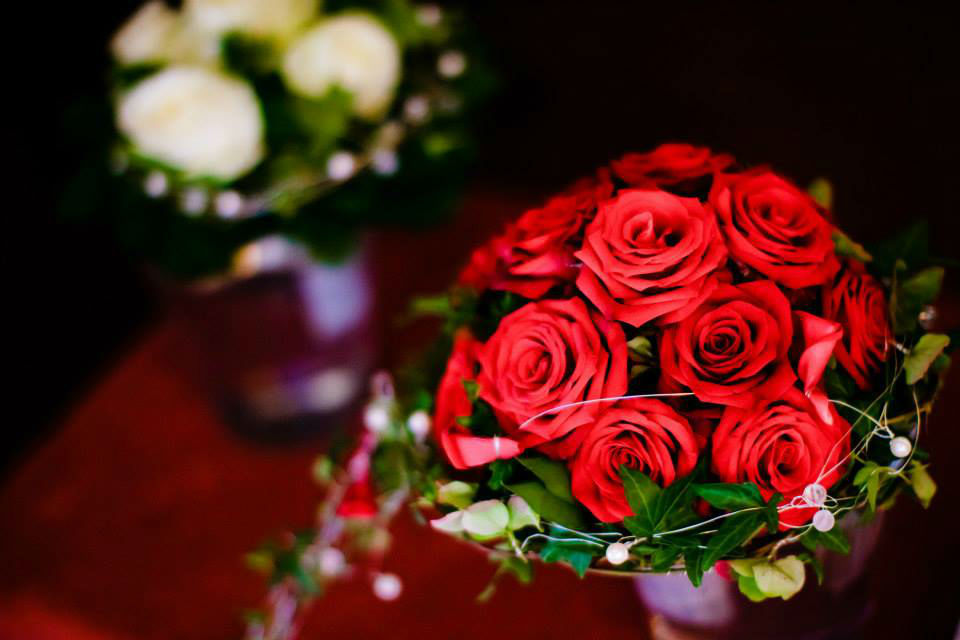 Beispiel: Hochzeitsfloristik, Foto: Blumenhaus Wasser.