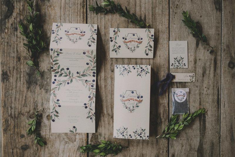 Stationery: Impaginazione grafica e mirto ad acquarello - foto di Matrimoni all'Italiana