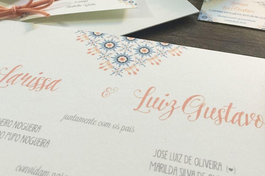 Larissa e Luiz Gustavo - Detalhe do patterna desenvolvido para a identidade visual