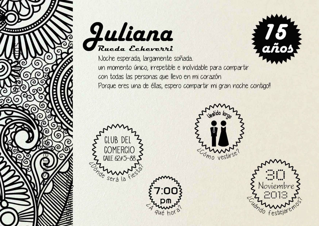 S_AI Tarjetas modernas 15 Años en Bogotá