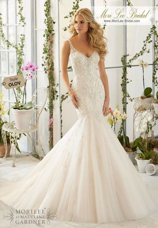 Wedding Dress OLOV  Intricate Crystal Beaded Embroidery on the Tulle, Mermaid Gown  Colors available: White/Silver, Ivory/Silver, Light Gold/Silver.
