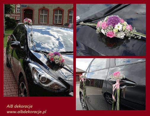 Dekoracje samochodu ślubnego,dekoracja z czosnkiem ,eustomą,różą i gożdzikami.