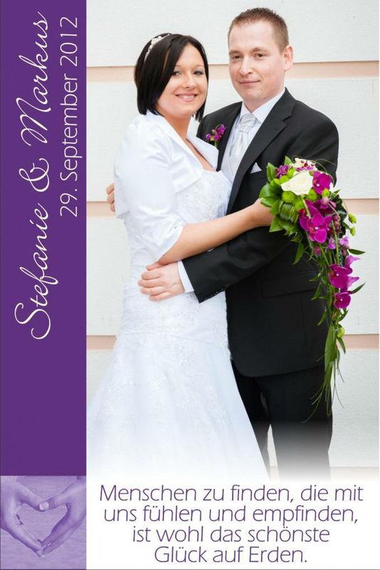 Beispiel: Wunderschöne Dankeskarten, Foto: Hochzeitswein - Weingut Zickl.