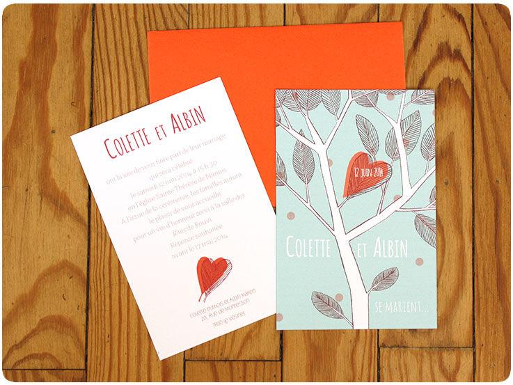 Faire-part boutique Coeur-Fleur, sur lescartesdelaimant.com