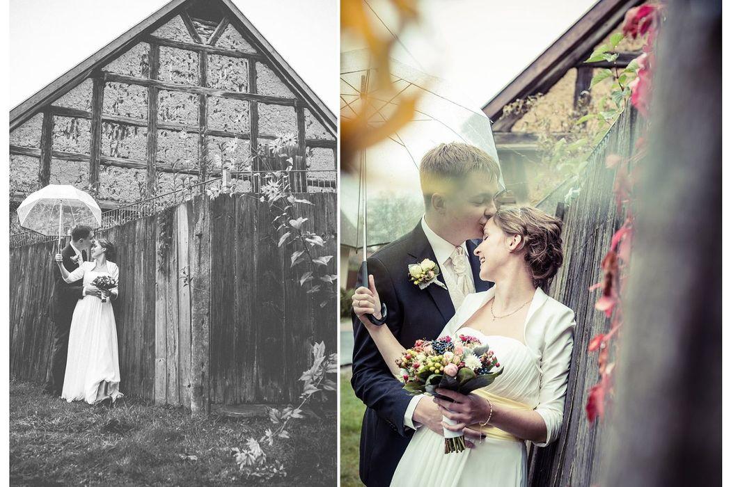 Hochzeit mit Regenschirm, romantische Hochzeitsbilder, Hochzeitsreportage Groß Schönebeck, Hochzeit Regen, Brautpaarbilder mit Regenschirm,