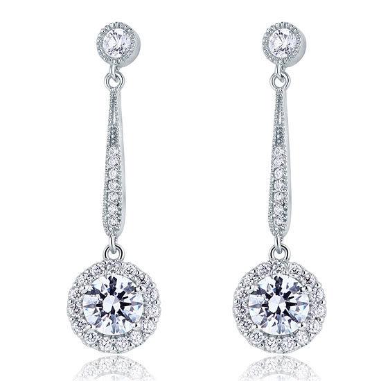 boucles d'oreilles pendantes en argent 925 avec zircon Swarovski 1 carat
