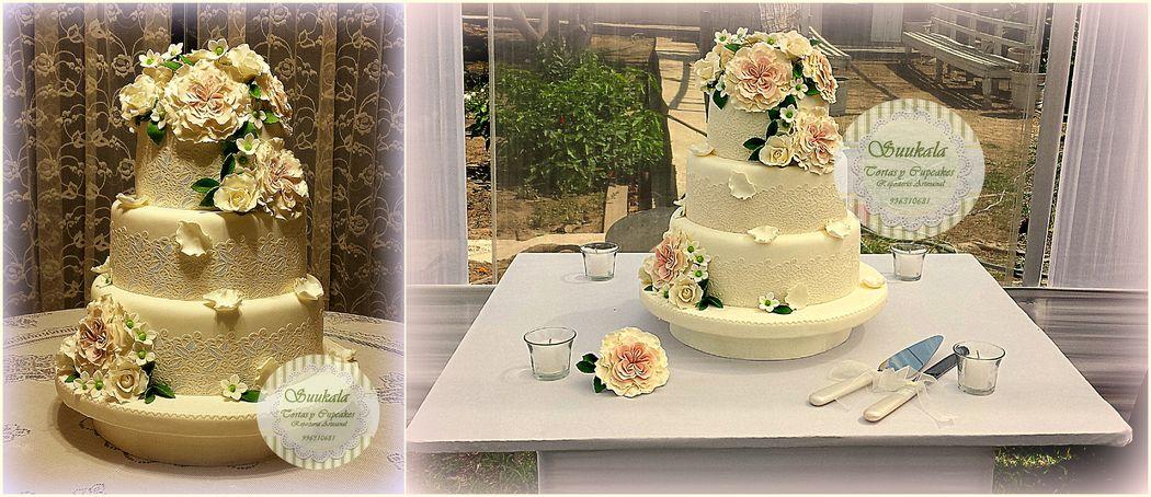 Torta Vintage Rosas Irlandesas Cake de chocolate, relleno de mousse de maracuya