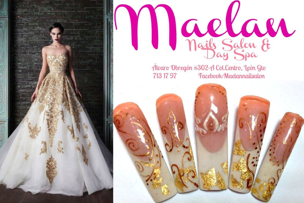 Uñas con diseño exclusivo para novia blanco dorado