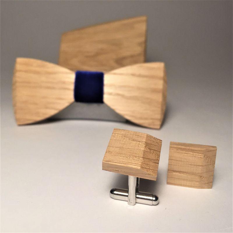 Drewniana muszka, spinki do mankietów i poszetka MARACHIC. Drewniany komplet NAVY VELOURS