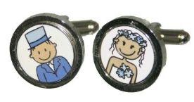 Boutons de manchette couple de mariés bleus - Effet de Manche