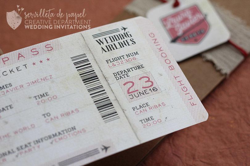 Invitación boarding pass L&J