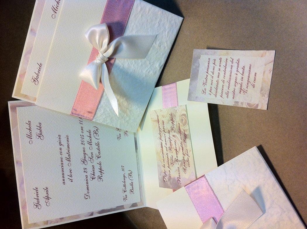 Partecipazione invito matrimonio romantico con rose