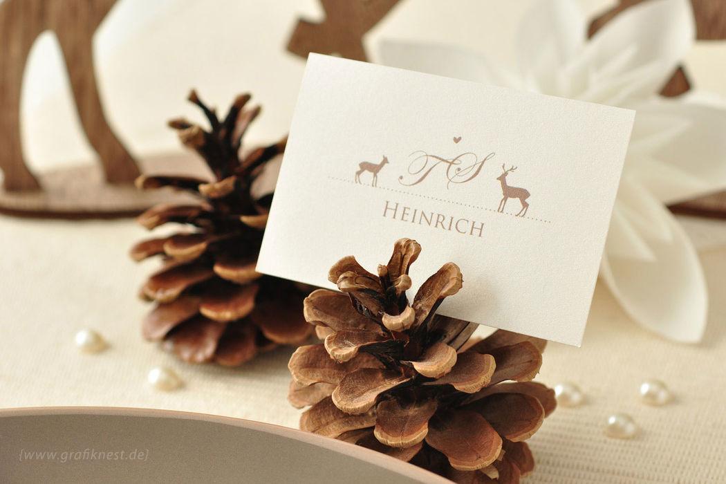 Beispiel: Tischkarten (Wildromantik), Foto: Annette Bleichert {GrafikNEST}.