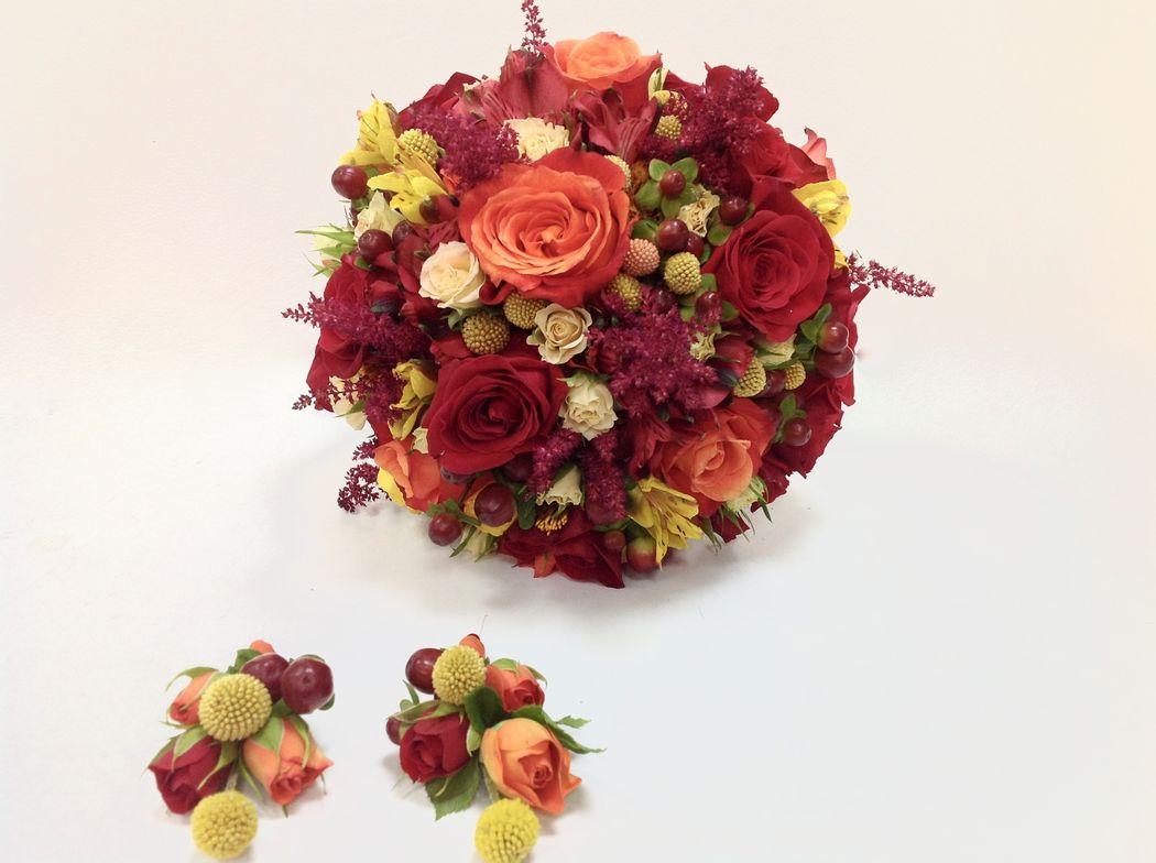 Bouquet tonos rojos
