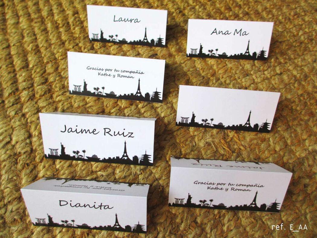 E_AA Marcadores de puesto. Tarjetas de matrimonio tema viaje, tiquete de avión. Boarding pass