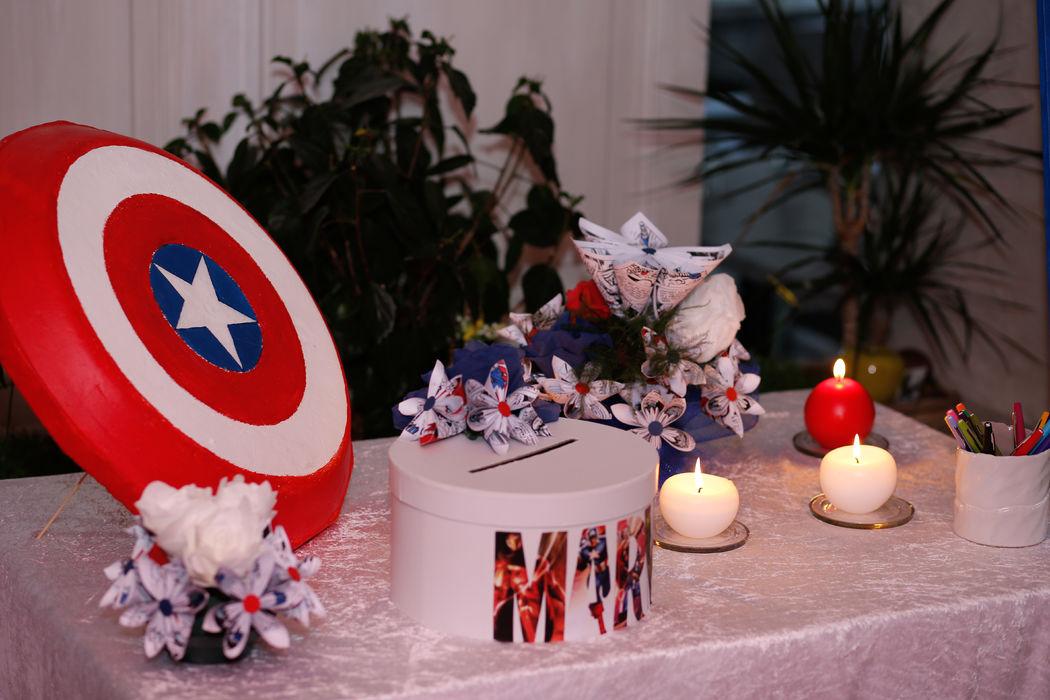 Mariage thème super-héros Marvel : table de l'urne