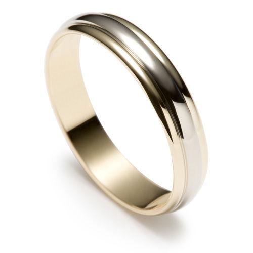 AM22 Aros de matrimonio hechos a medida en oro blanco y amarillo 18K.