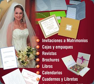 Matrimonios/ revistas/ brochures/ cajas/ etc.