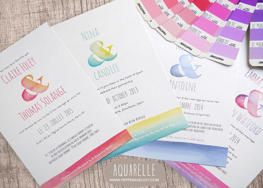 Mariage Aquarelle - Pepper & Joy Un design délicat et coloré pour cette collection aux textures d'aquarelle et à la police d'écriture manuscrite pour un look chic décontracté.