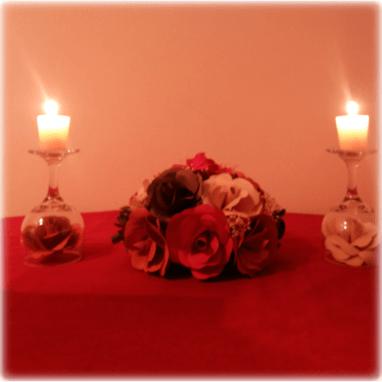 Centro de mesa Rosal String Plano + candelabros florales