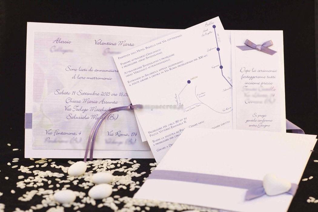 Partecipazione nozze lavanda provenza con mappa www.stampaecrea.it