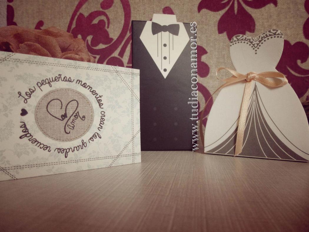 Cajas originales para detalles, traje y vestido novios