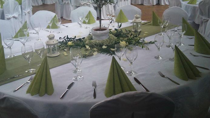 Beispiel: Bankett - Tischdekoration, Foto: Eventhalle Gartenstadt.