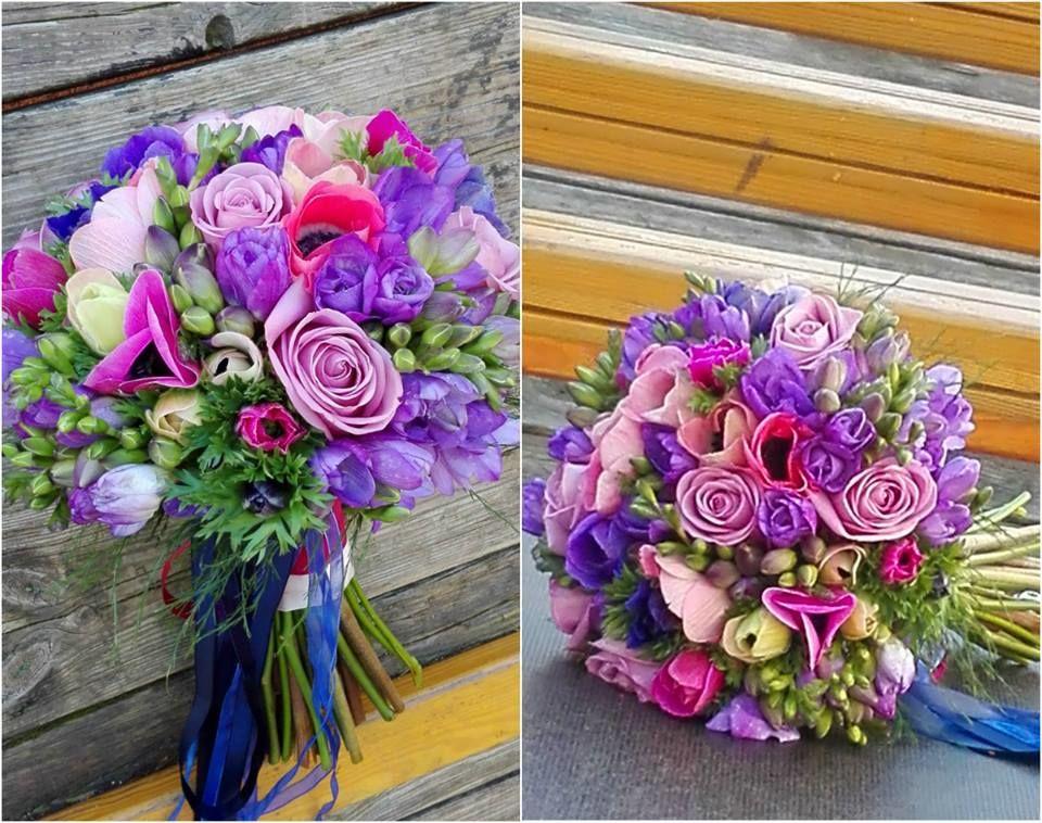 Bouquet de Noiva Anémonas e Frésias Lilás