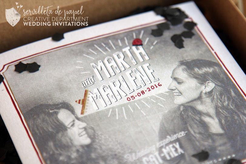 Invitación vintage M&M