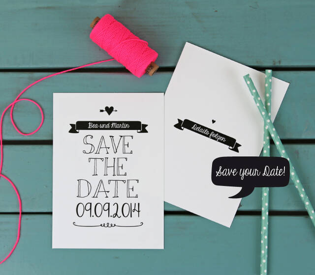 Save the Date Karte aus der Serie Black & White im Handlettering Design.