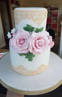 Pastel Boda flores fondant