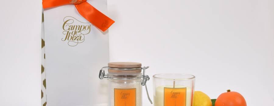 Pack bolsa kraft con tarro de sales mandarina fresca y vela perfumada mandarina fresca 75gr.
