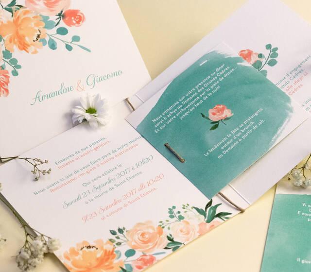 Faire-part Aquarelle Fleurs • Véritable Faire-part Sur Mesure de Mariage de L'Atelier d'Elsa