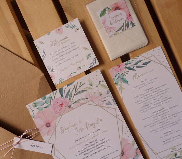 Convite de Casamento Floral e Geométrico
