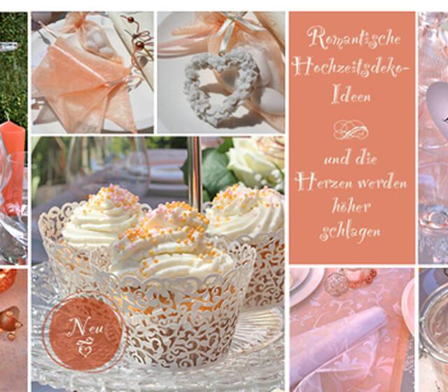 Romantische Hochzeitsdeko in Pfirsich   Die Farbwelt Orange setzt Akzente in Ihrer Tischdeko mit frischen Farbtönen von hellem Apricot bis zu dunklem Orange. Schon einzelne Elemente machen den Tisch zur Tafel – stöbern Sie einfach durch unsere Bildergalerie. Hier finden Sie Deko-Ideen in Orange, die Sie ganz einfach für sich umsetzen können. Kombinieren Sie ihre Tischdekoration mit Grün, Weiß, Gelb, Gold etc. und ernten Sie bewundernde Blicke!