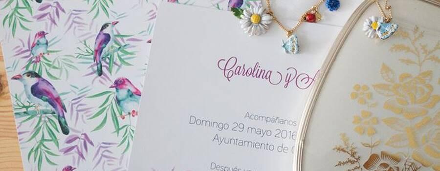 Invitaciones de boda pájaros