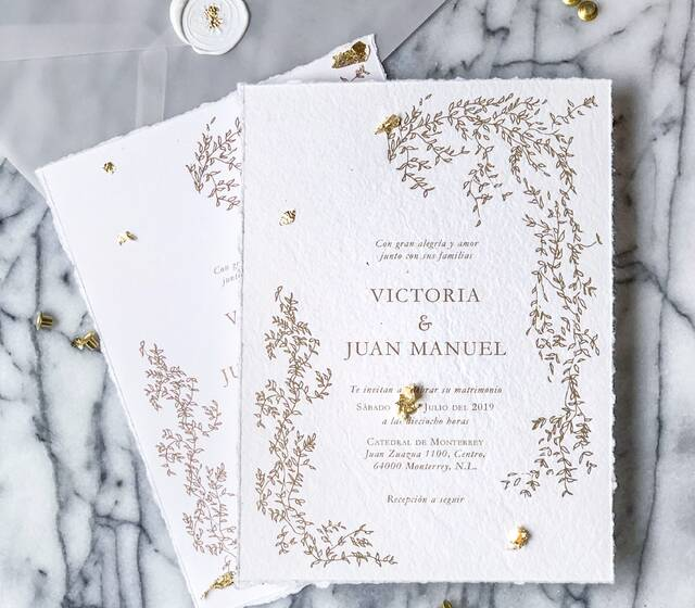 Invitación De Boda impresa en papel hecho a mano