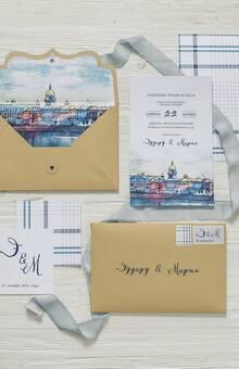 Приглашения для Эдуарда и Марии. Пара влюблена в свой родной город и пожелала отразить это в своих приглашениях.