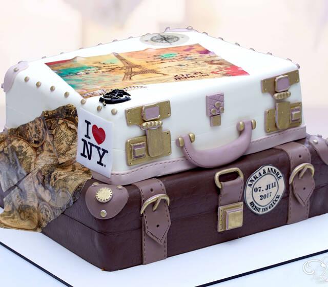 Hochzeitstorte als Koffer