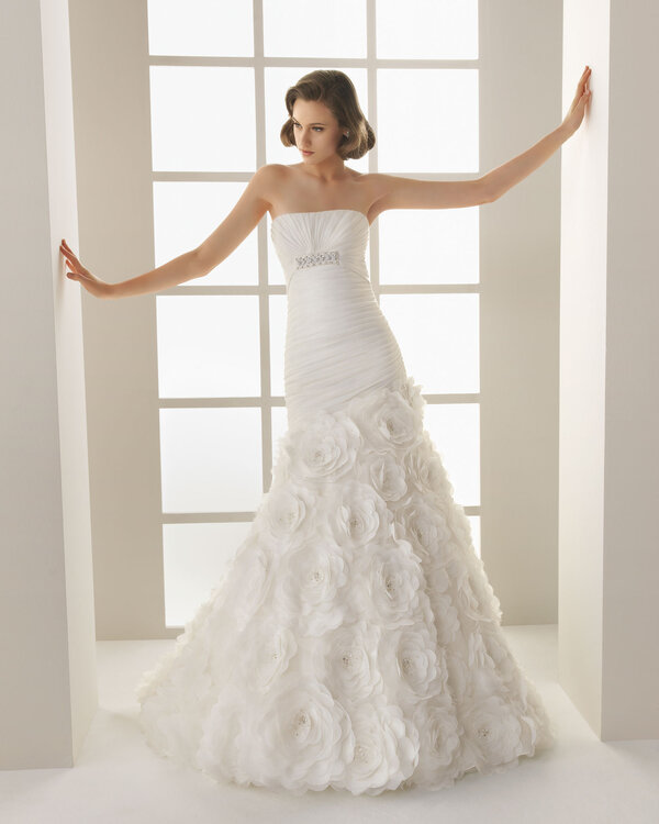 vestido novia falda flores – vestidos de noche