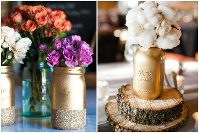 Aproveite os potes para pintá-los de dourado e reutilizá-los como vasos para as flores