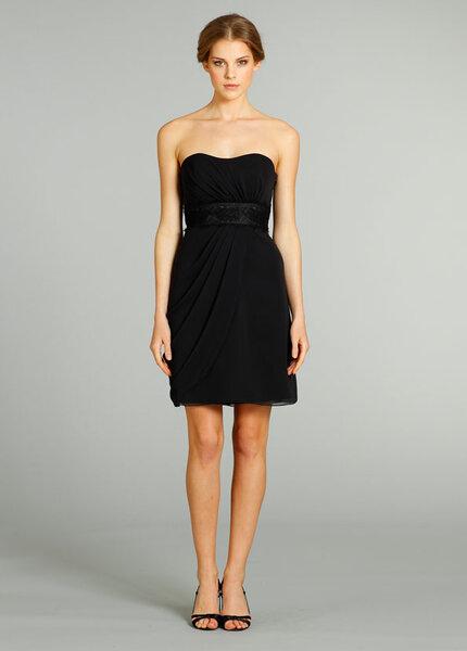 Vestido strapless para damas de boda en color negro
