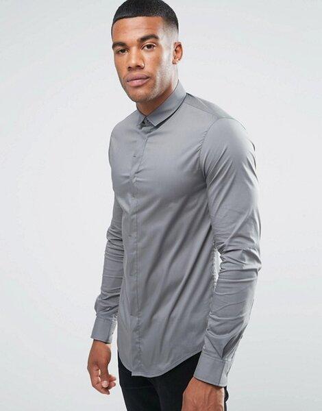 Chemise cintrée et stretch avec patte de boutonnage dissimulée gris