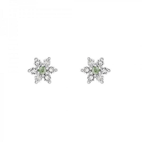 Pendientes flor en plata de ley con zafiro verde y topacio blanco. Credits_ Aristocrazy
