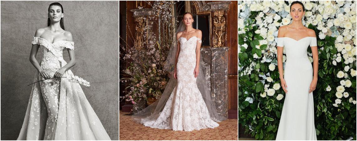 Suknie ślubne z dekoltem hiszpańskim: szyk i elegancja!