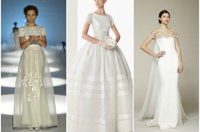 Le spalle tornano in primo piano con gli abiti da sposa 2013 con maniche corte